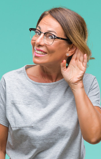 Woman having trouble hearing